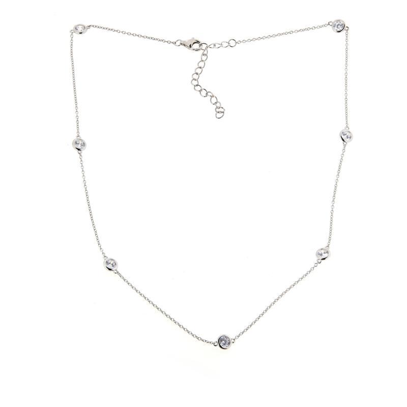 "Absolute™ 16"" Cubic Zirconia Bezel-Set Station Necklace"