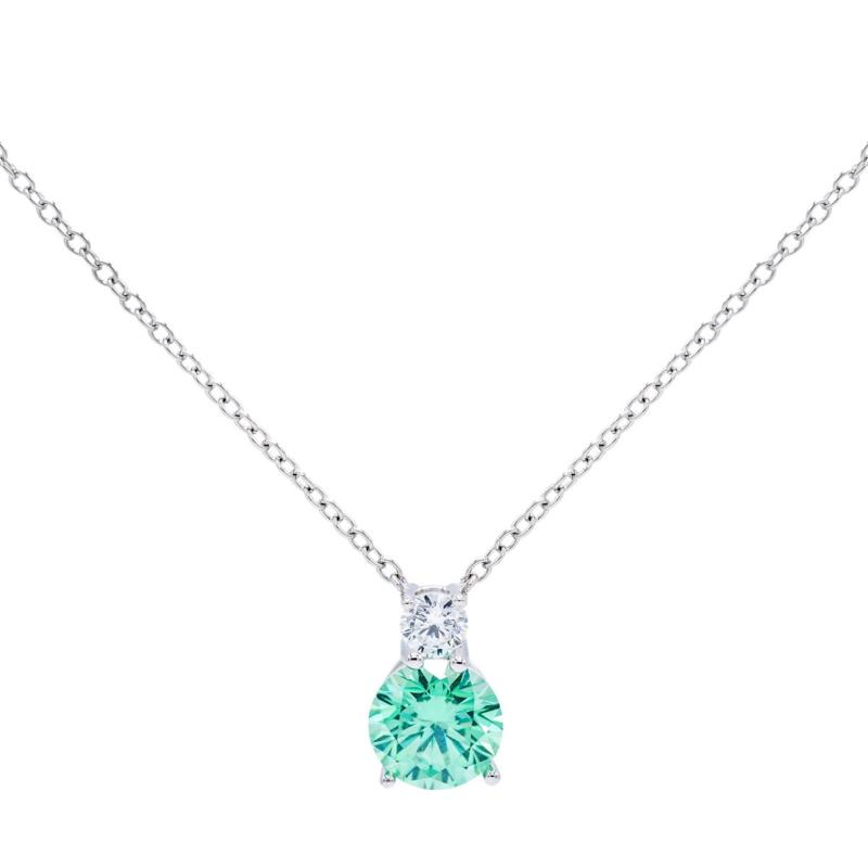 Absolute™  Colored and Clear Cubic Zirconia Pendant with Chain