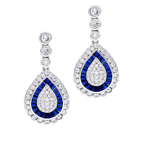 Absolute™ Cubic Zirconia and Simulated Blue Sapphire Pear Earrings