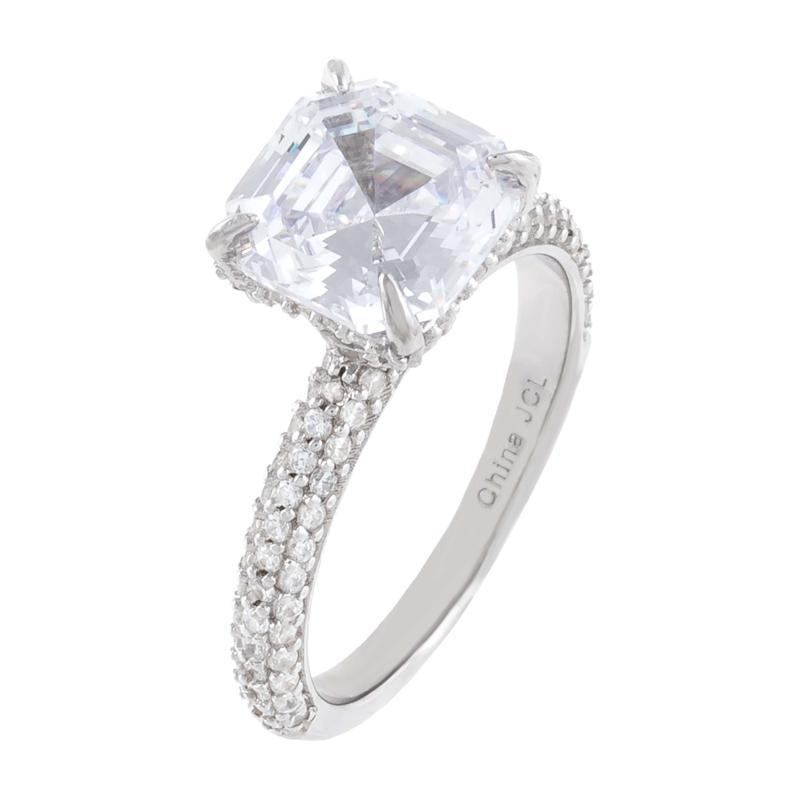Absolute™ Cubic Zirconia Asscher-Cut Solitaire Engagement Ring