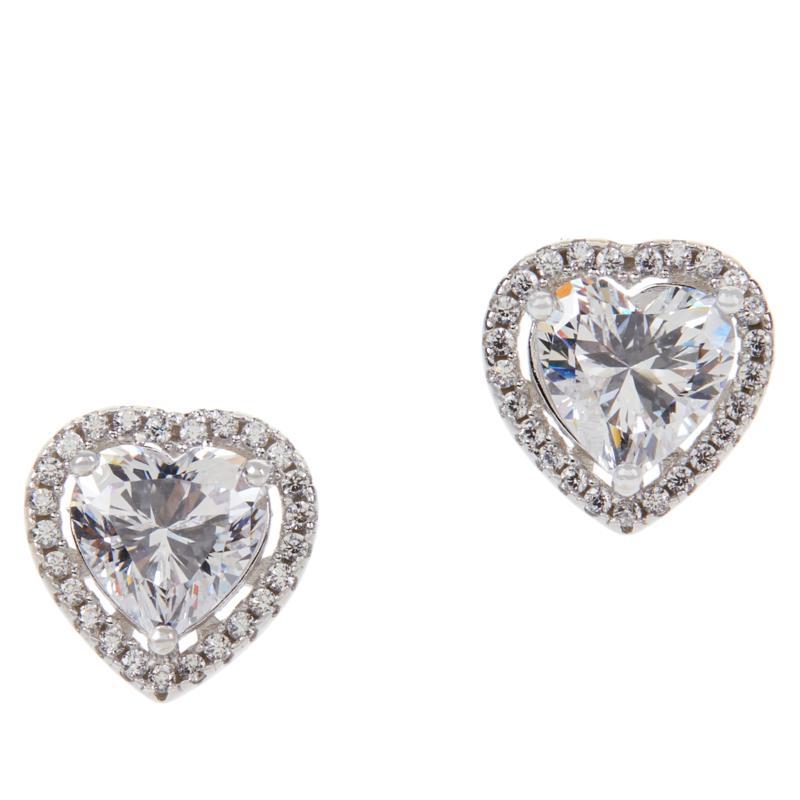 Absolute™ Cubic Zirconia Halo Heart-Cut Stud Earrings
