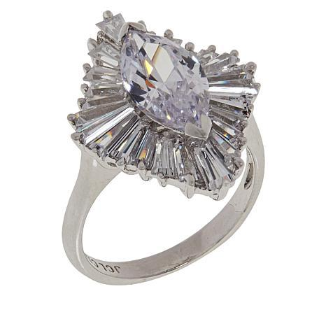 Absolute™ Cubic Zirconia Marquise and Baguette Frame Ring