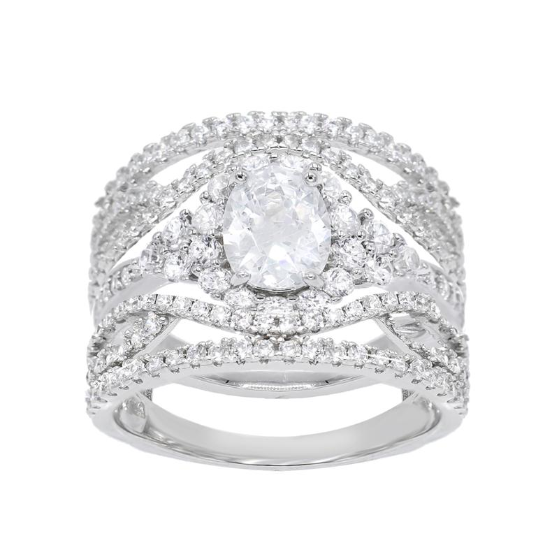 Absolute™ Cubic Zirconia Oval and Round Guard Ring 2-piece Set