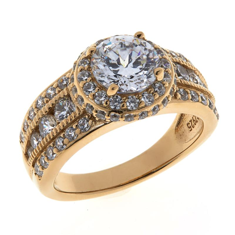 Absolute™ Cubic Zirconia Pavé Engagement Ring
