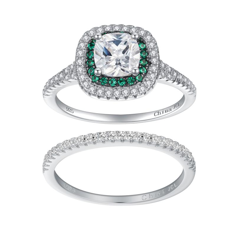 Absolute™ Simulated Emerald and Cubic Zirconia 2-piece Bridal Ring Set