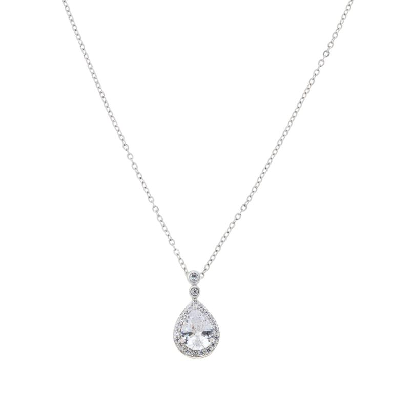 """Absolute™ Sterling Silver Bezel-Set Bail Framed Pendant with 20"""" Chain"""