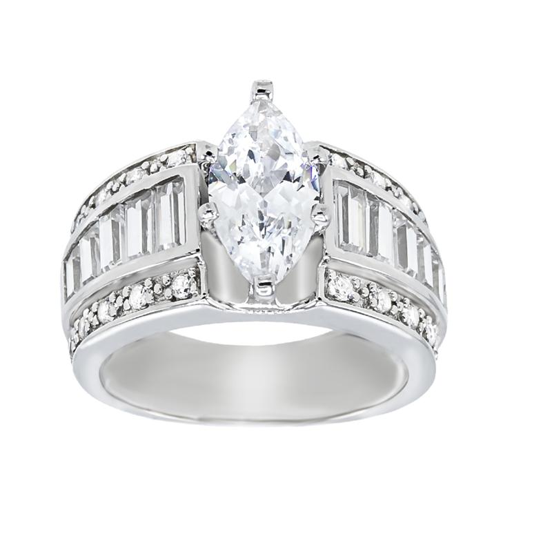 Absolute™ Sterling Silver Cubic Zirconia Marquise and Baguette Ring