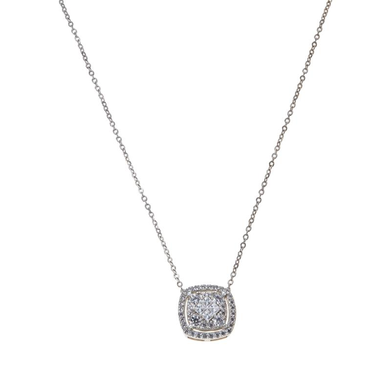 Absolute™ Sterling Silver Cubic Zirconia Pavé Pendant with Chain