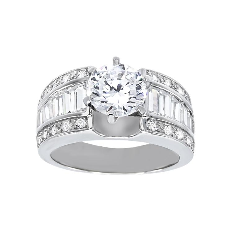 Absolute™ Sterling Silver Cubic Zirconia Round and Baguette Ring