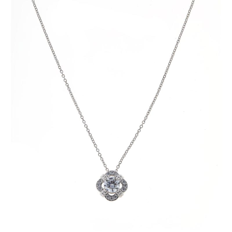 Absolute™ Sterling Silver Cubic Zirconia Round Cluster Pendant