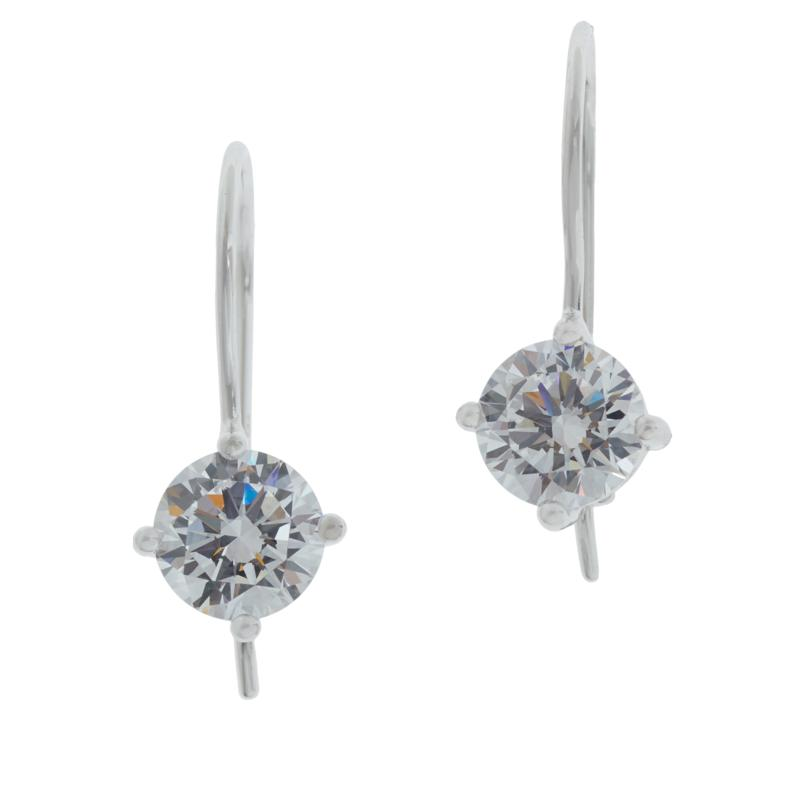Absolute™ Sterling Silver Cubic Zirconia Round Wire Drop Earrings
