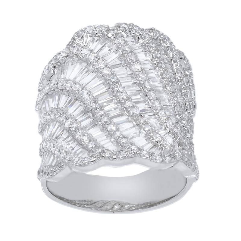 Absolute™ Sterling Silver Cubic Zirconia Tapered Baguette Wave Ring