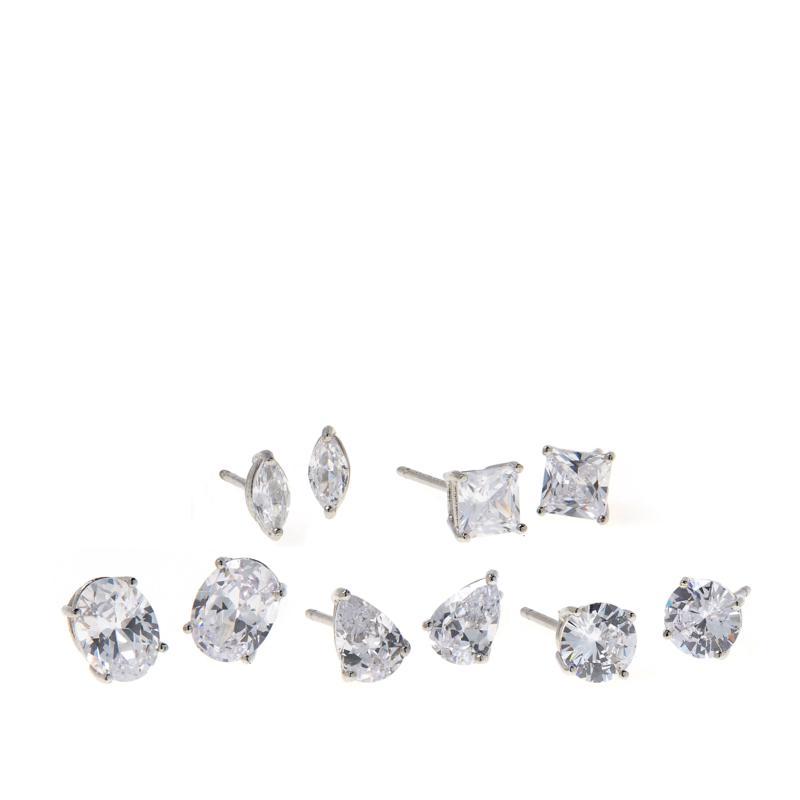 Absolute™ Sterling Silver Multi-Shaped 5-piece Stud Earrings Set
