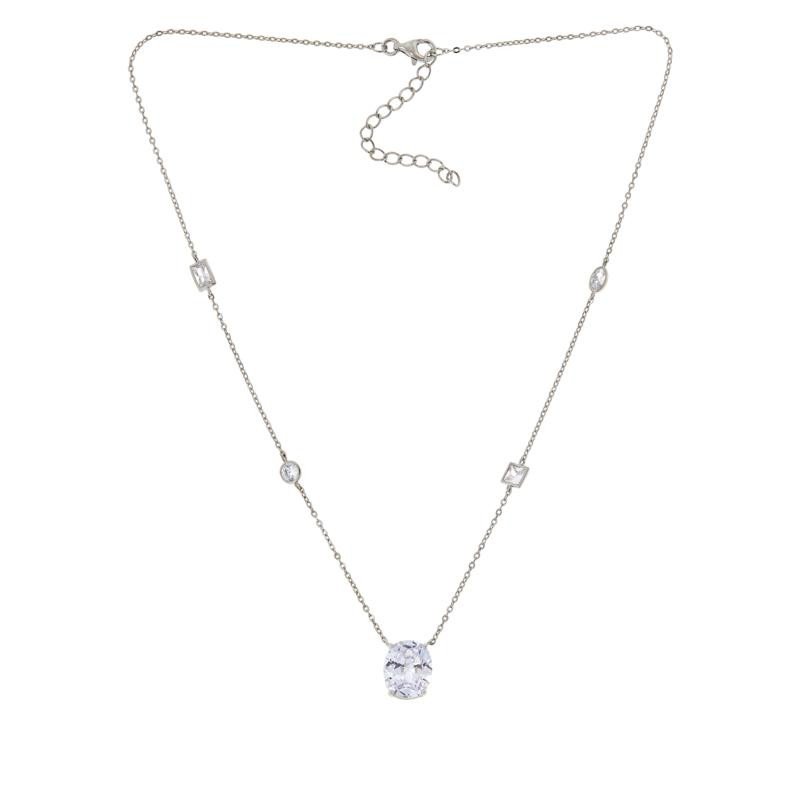 Absolute™ Sterling Silver Multi-Shaped and Oval Drop Necklace