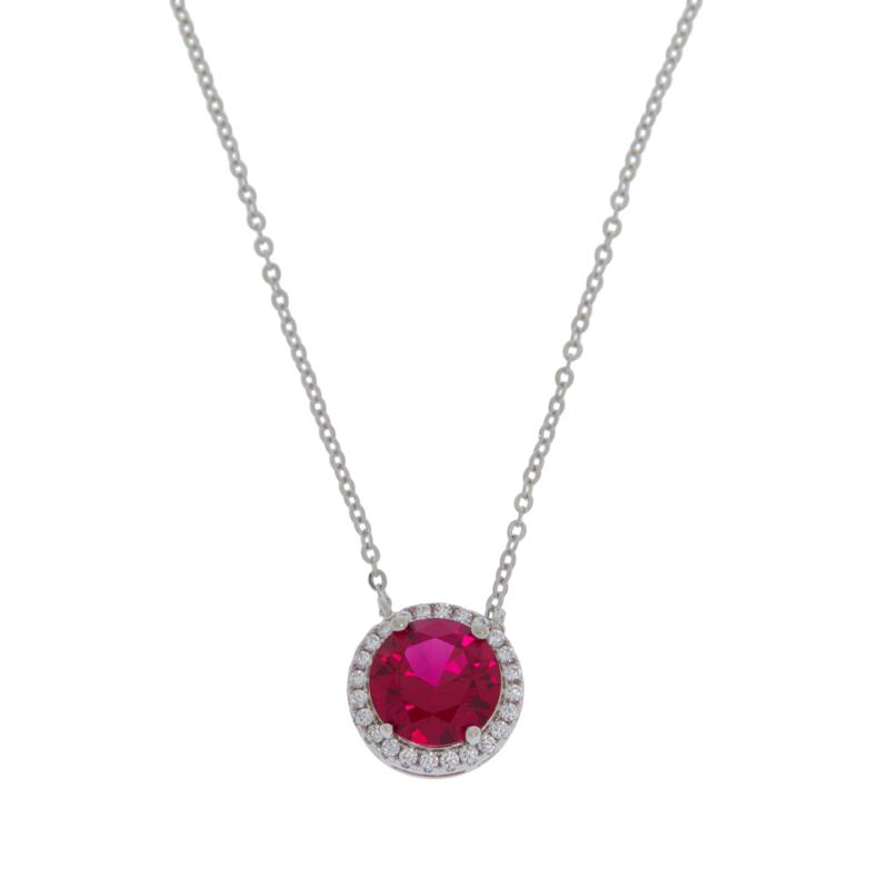 Absolute™ Sterling Silver Simulated Gemstone Pavé Frame Drop Necklace