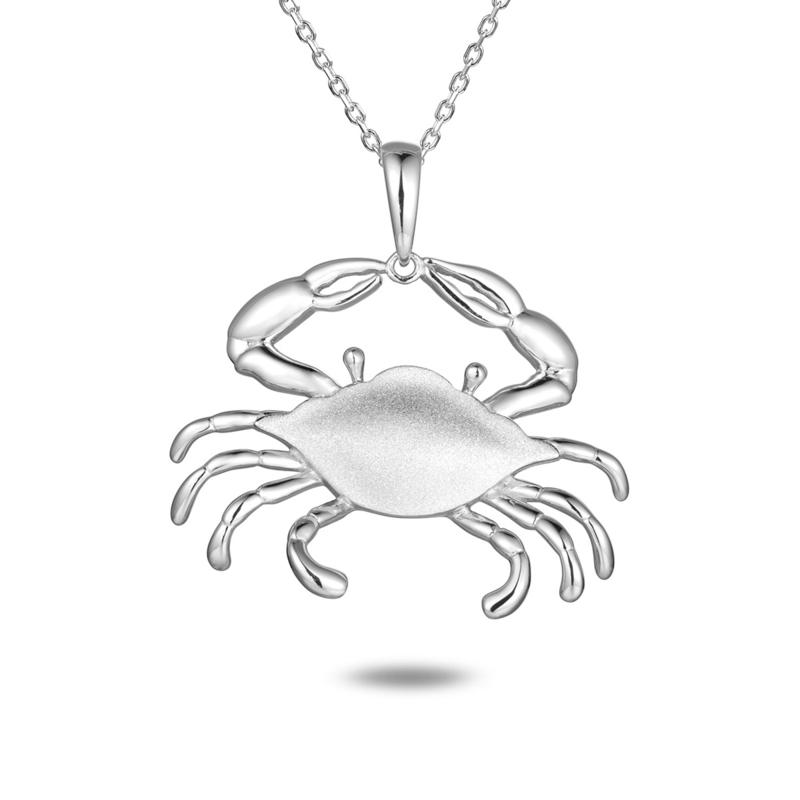 Alamea Sterling Silver Blue Crab Pendant with Chain Necklace