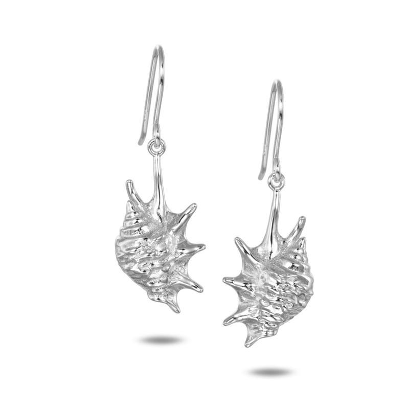 Alamea Sterling Silver Conch Shell Drop Earrings
