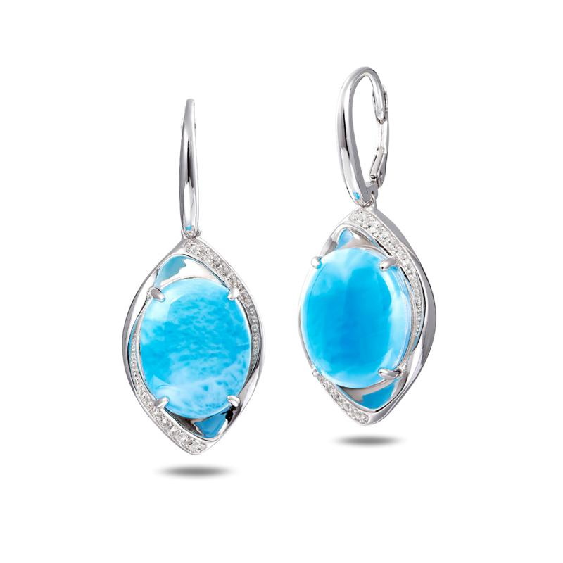 Larimar andTopaz Necklace and Earrings Sterling Silver