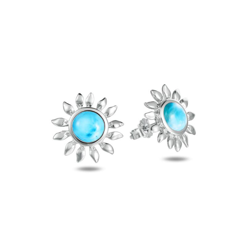 Alamea Sterling Silver Larimar Sunflower Earrings