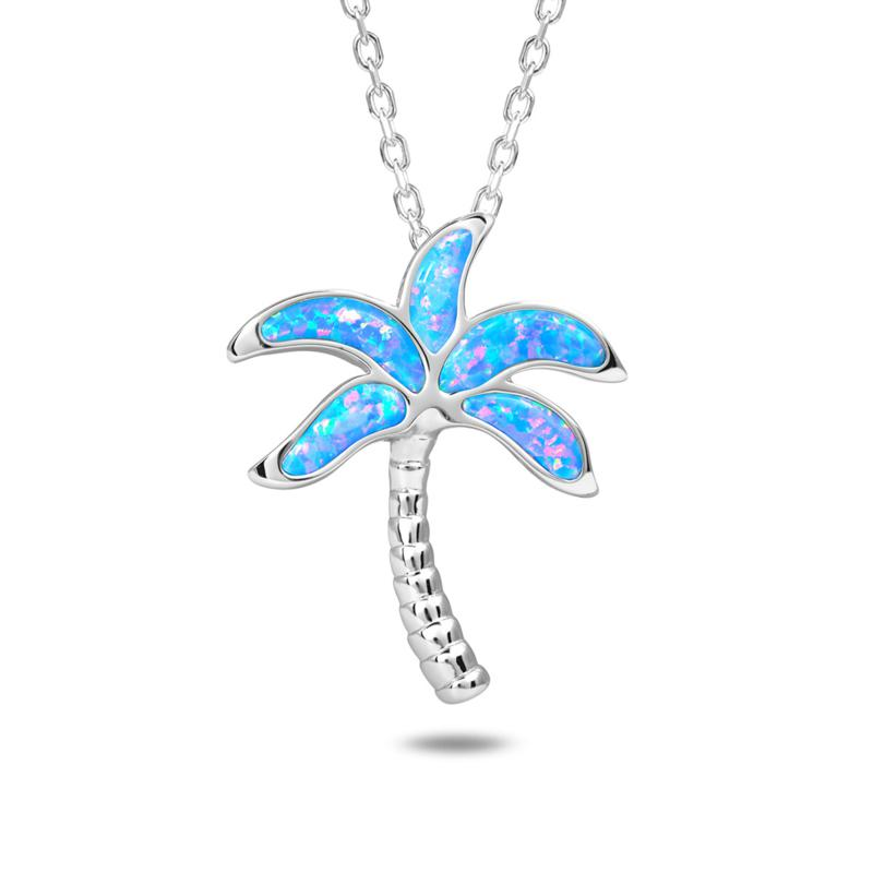 Alamea Sterling Silver Synthetic Blue Opal Palm Tree Pendant