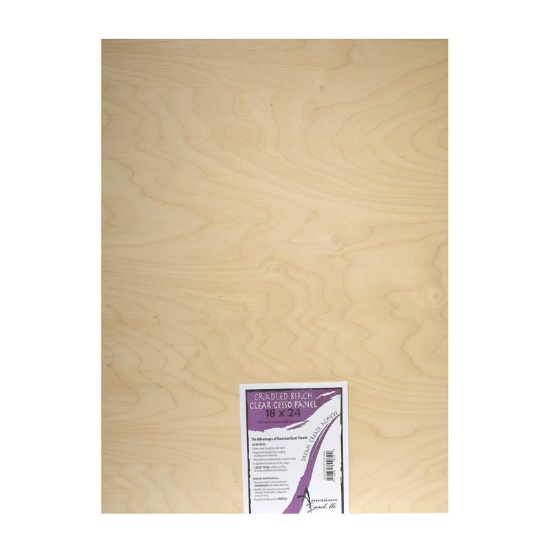"""American Easel 18"""" x 24"""" Clear Gesso Primed Wood Painting Panel"""