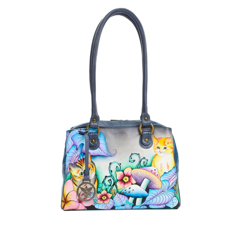 Anuschka Hand-Painted Leather Satchel with Organizer Wallet
