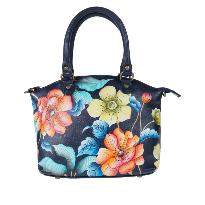 Anuschka Hand-Painted Leather Satchel with Removable Strap