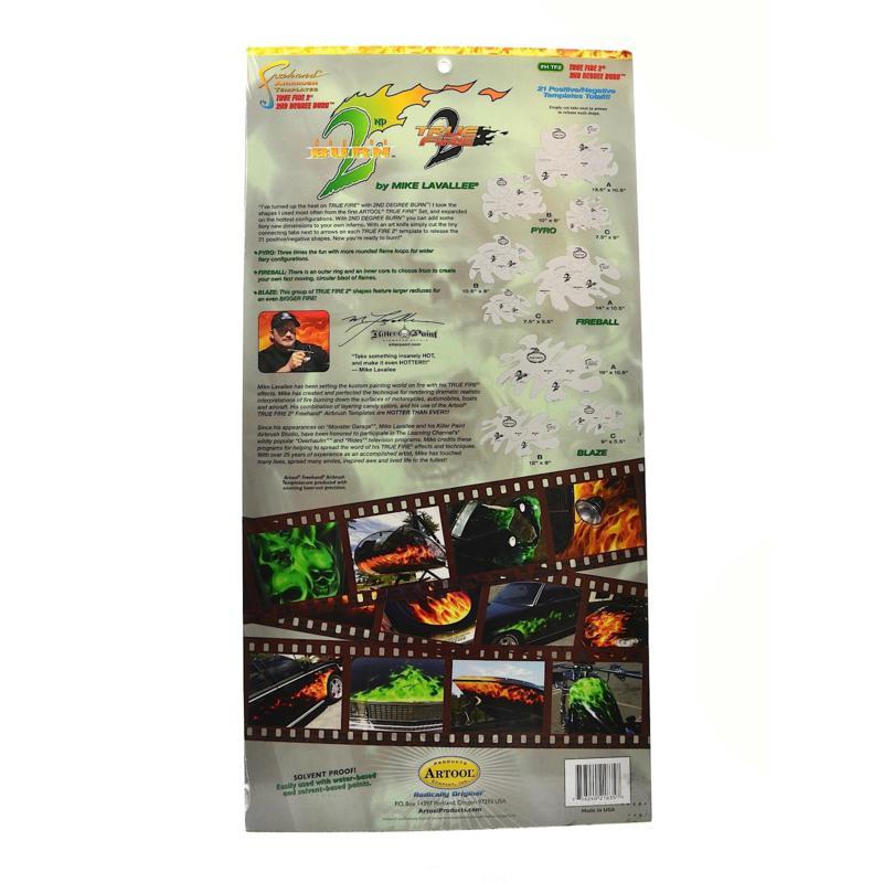 Artool True Fire 2 2nd Degree Burn Airbrush Template Set 9-pack