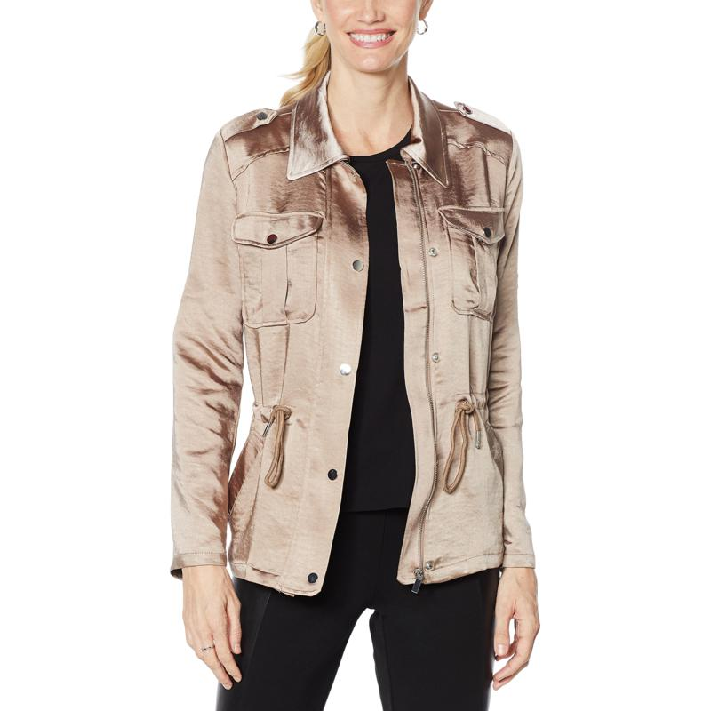 """As Is"" Avec Les Filles Anorak with Rolled Tab Sleeves"