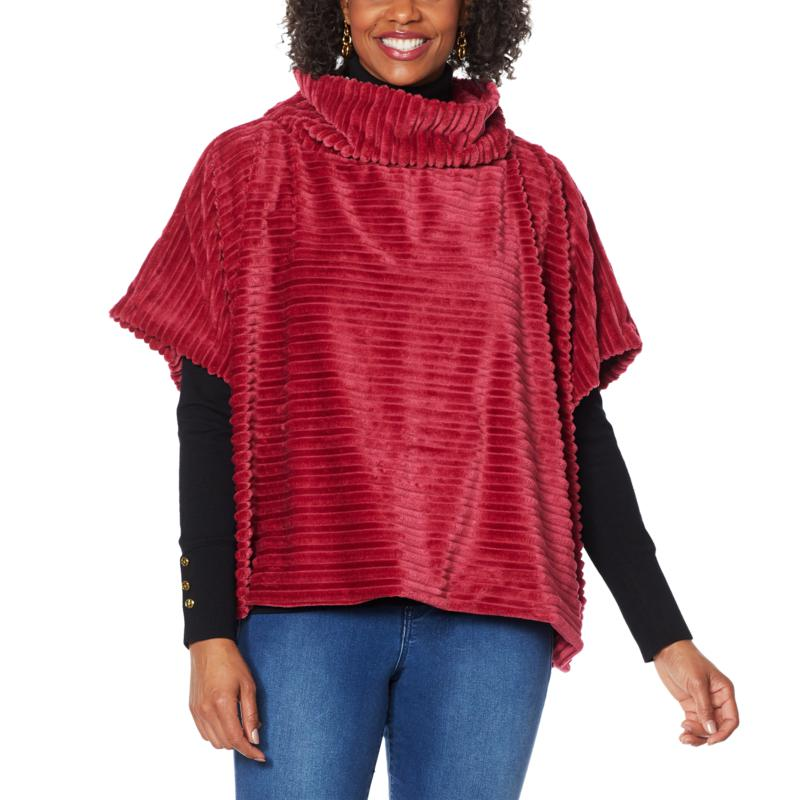 """""""As Is"""" IMAN Global Chic Textured Faux Fur Cowl-Neck Poncho Cape"""