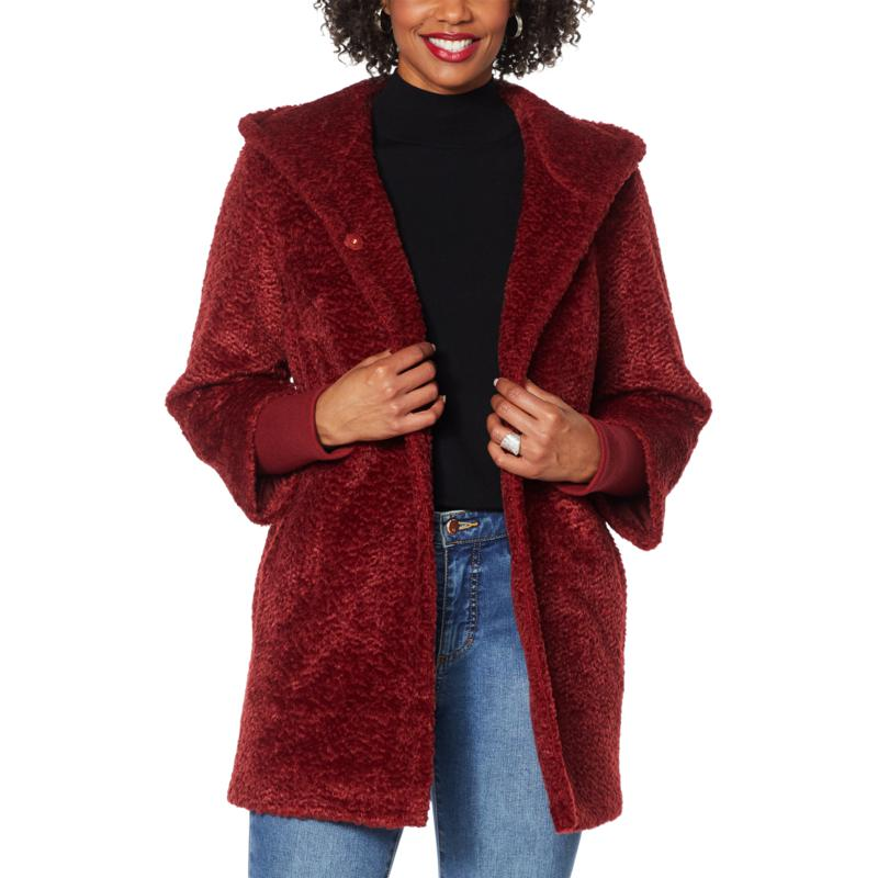 """As Is"" Laurier Hooded Faux Fur Coat with Storm Cuffs"