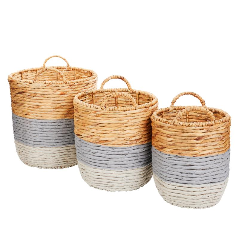 """As Is"" South Street Loft Set of 3 Painted Baskets"