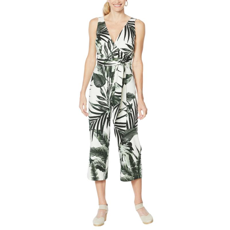 """As Is"" Vanessa Williams Palm-Printed Wrap Jumpsuit"