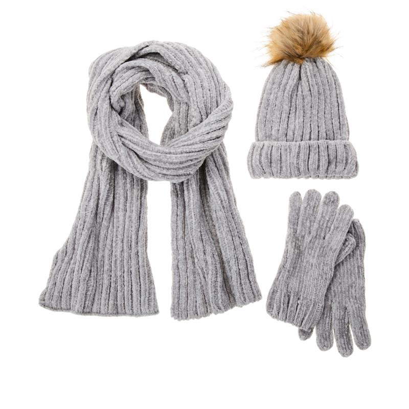 """""""As Is"""" Warm and Cozy 3-piece Chenille Hat, Scarf and Gloves Set"""