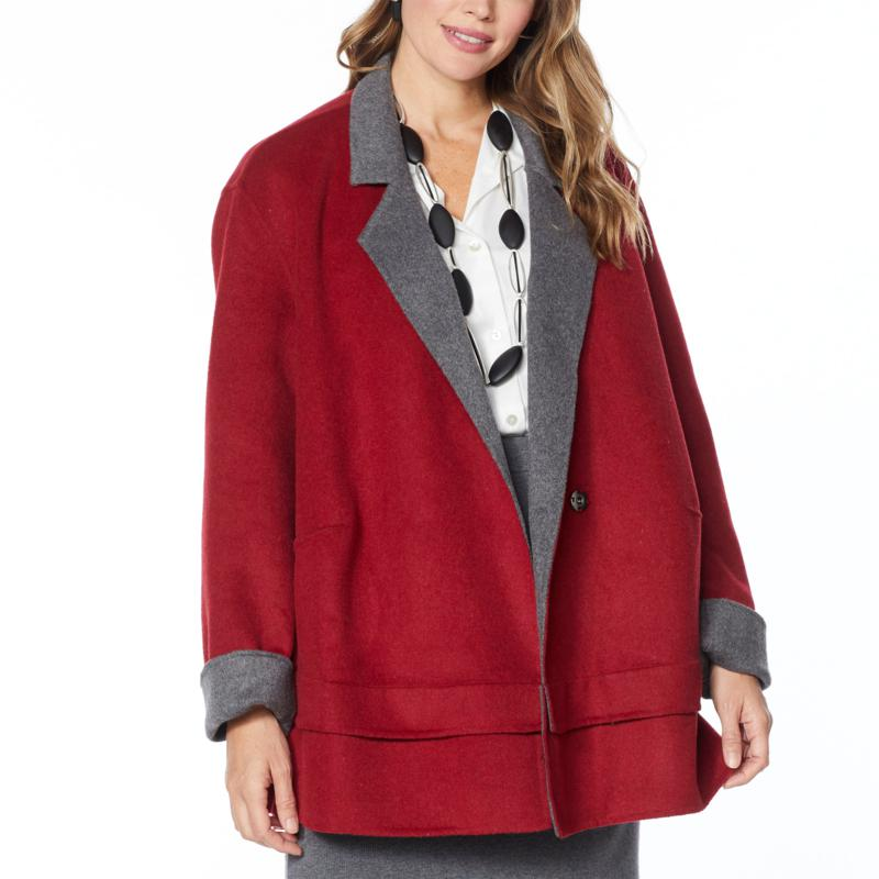"""As Is"" WynneLayers Reversible Melton Car Coat"