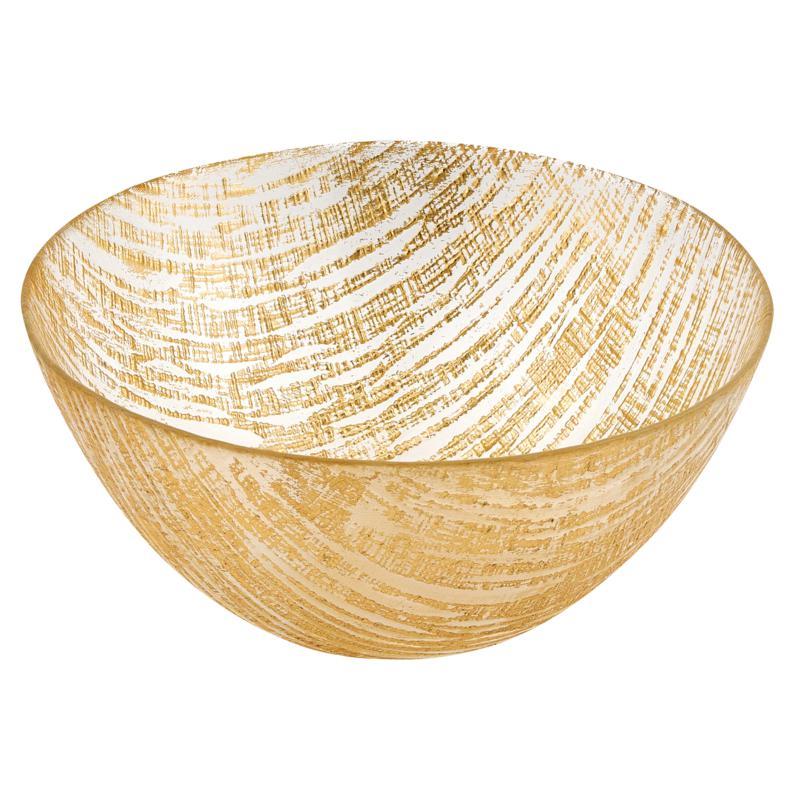 "Badash Secret Treasure Handcrafted Gold Accent Glass Bowl 11""Dia."