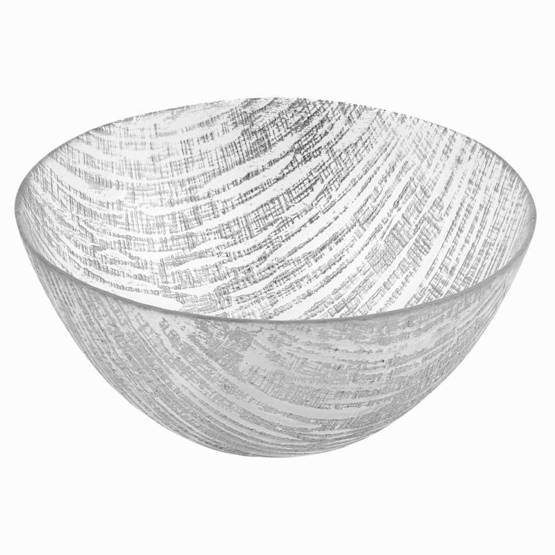 "Badash Secret Treasure Handcrafted Silver Accent Glass Bowl 8.75"""