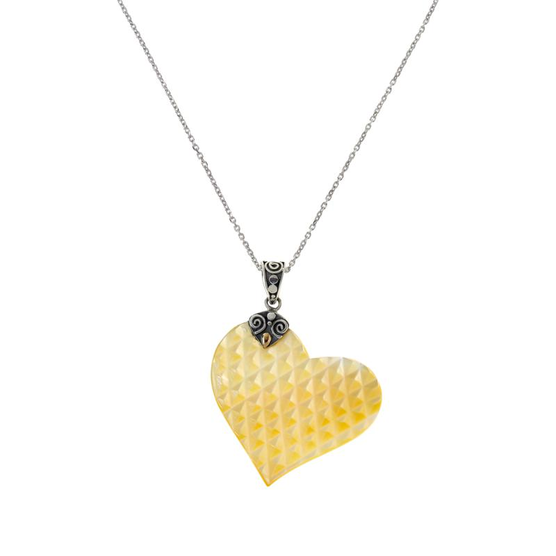 Bali RoManse Heart-Shaped Mother-of-Pearl Pendant with Chain
