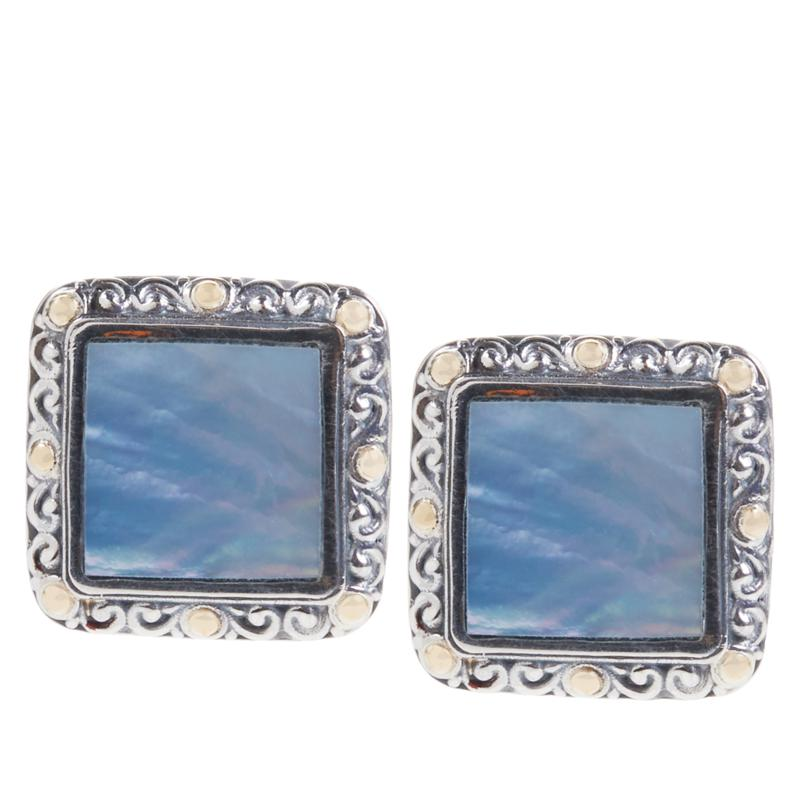 Bali RoManse Mother-of-Pearl Scrollwork Stud Earrings