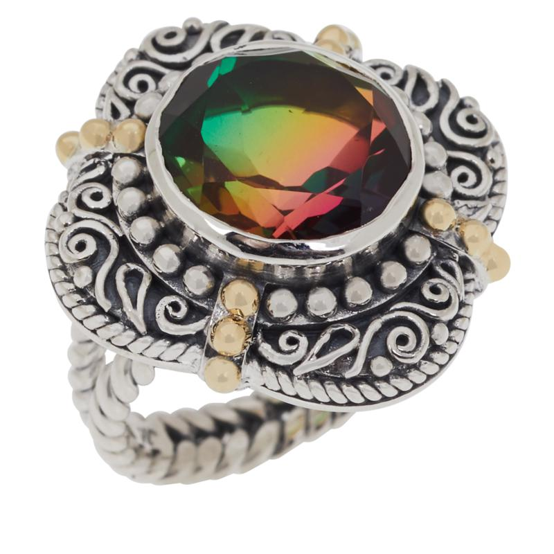 Bali RoManse Sterling Silver and 18K Gold Accents Round Quartz Ring