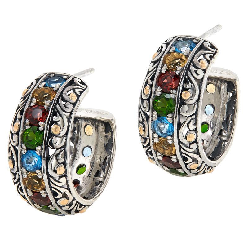 Bali RoManse Sterling Silver and 18K Multigem Scrollwork Hoop Earrings