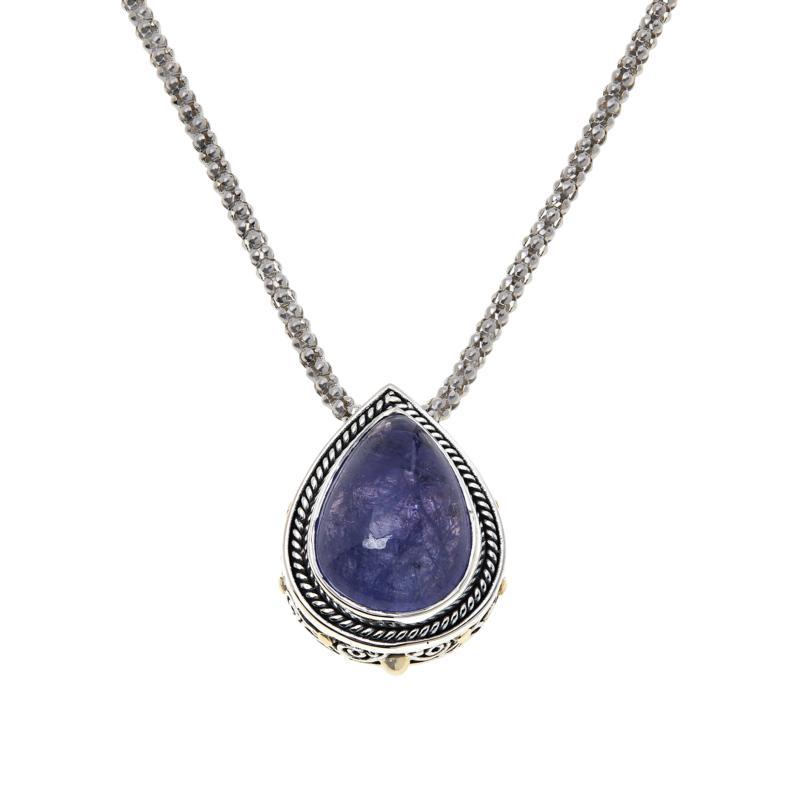 Bali RoManse Sterling Silver Pear-Shaped Tanzanite Pendant with Chain