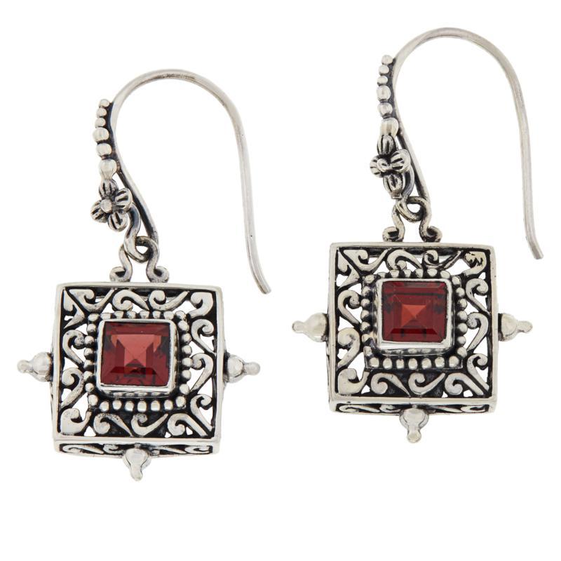 Bali RoManse Sterling Silver Square Garnet Scrollwork Drop Earrings