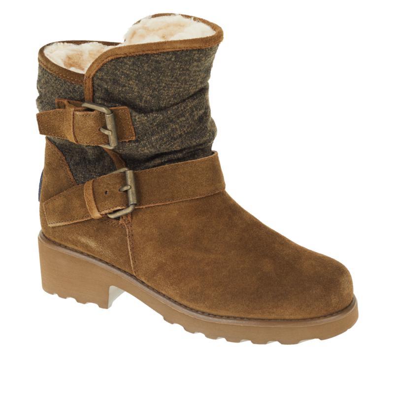 BEARPAW® Avery Suede Sheepskin Moto Boot with NeverWet™