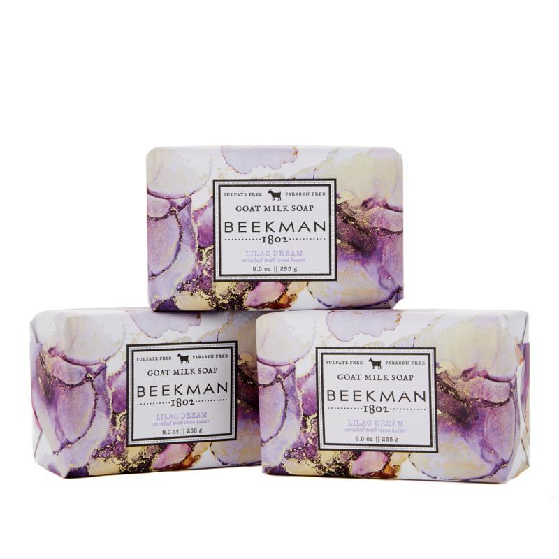 Beekman 1802 Lilac Dream Goat Milk Bar Soap 3-piece Set