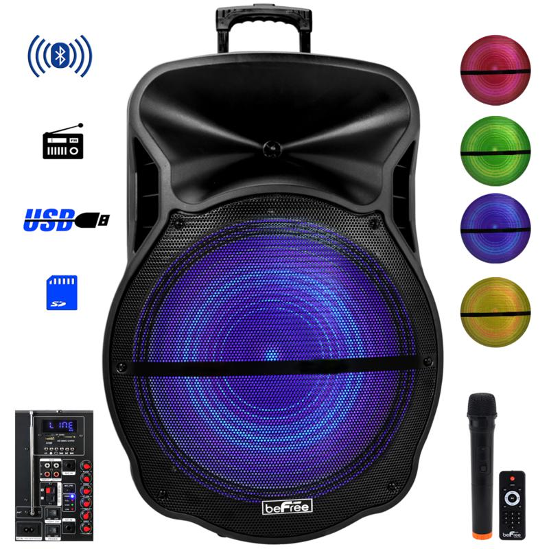 """beFree Sound 18"""" Bluetooth Portable Rechargeable Party Speaker w/ LEDs"""