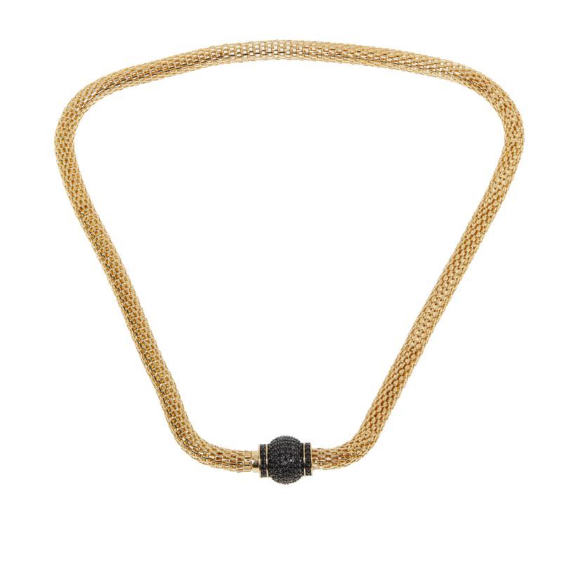 "Bellezza 18"" Bronze Black Spinel Magnetic Clasp Mesh Necklace"