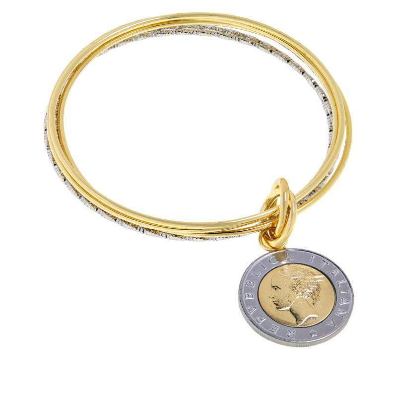 Bellezza 500 Lira Coin Two-Tone Multi-Row Bangle Bracelet