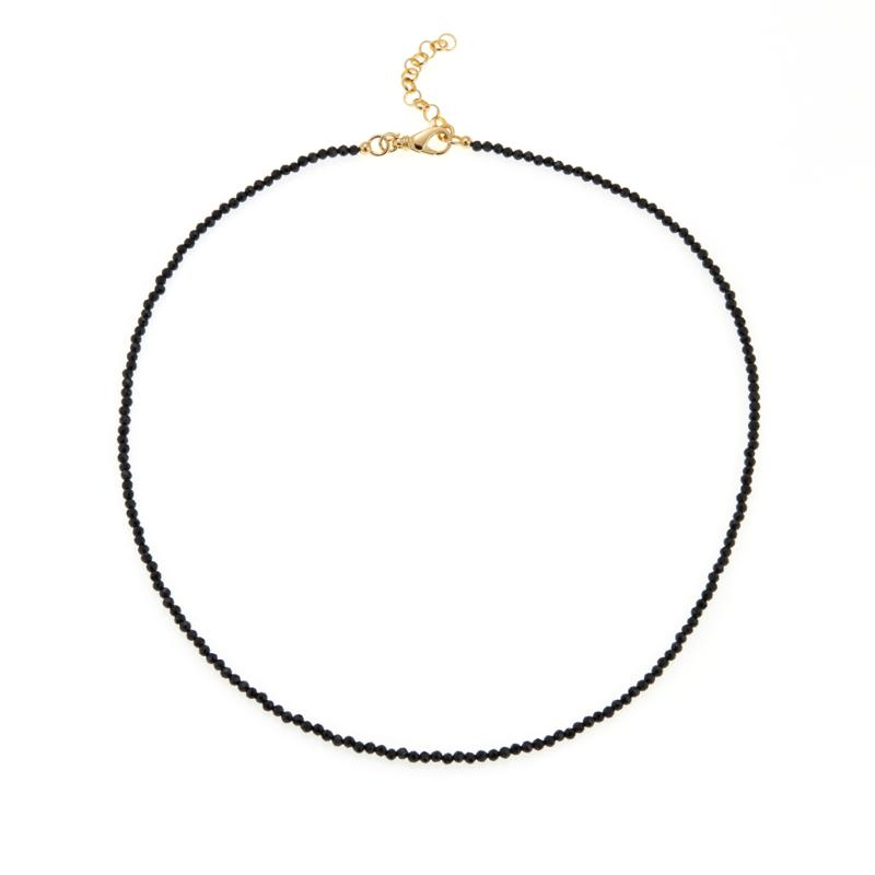 "Bellezza ""Magia Nera"" Black Spinel Beaded Bronze 22"" Necklace"