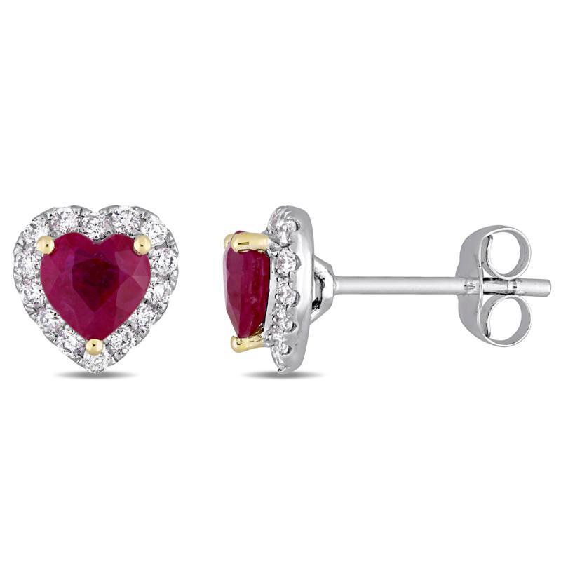 Bellini 14K Gold 2-Tone Ruby Heart Diamond-Accented Stud Earrings
